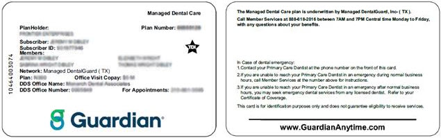 What information is on a Dental ID card?
